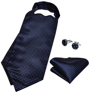 New Blue Polka Dot Silk Ascot Cravat Pocket Square Cufflinks Set