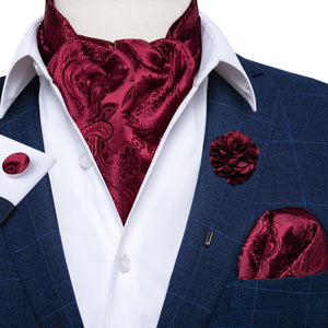 Burgundy Floral Silk Ascot Cravat Pocket Square Cufflinks Set With Lapel Pin