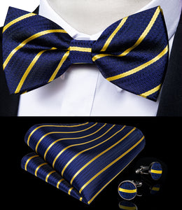 Deep Blue Yellow Striped Brace Clip-on Men's Suspender with Bow Tie Set