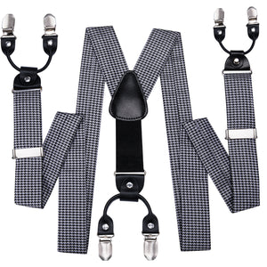 Black White Houndstooth Plaid Brace Clip-on Men's Suspender with Bow Tie Set