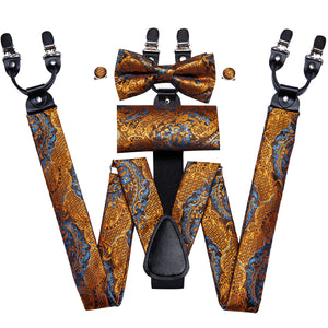 Luxury Golden Paisley Brace Clip-on Men's Suspender with Bow Tie Set