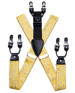 Sweet Yellow Floral Brace Clip-on Men's Suspender with Bow Tie Set