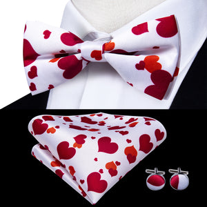 White Red Heart Novelty Brace Clip-on Men's Suspender with Bow Tie Set