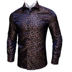 Ties2you Classic Navy BLue Golden Floral Silk Men's Shirt