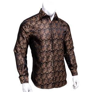 Champagne Brown Floral Silk Men's Long Sleeve Shirt