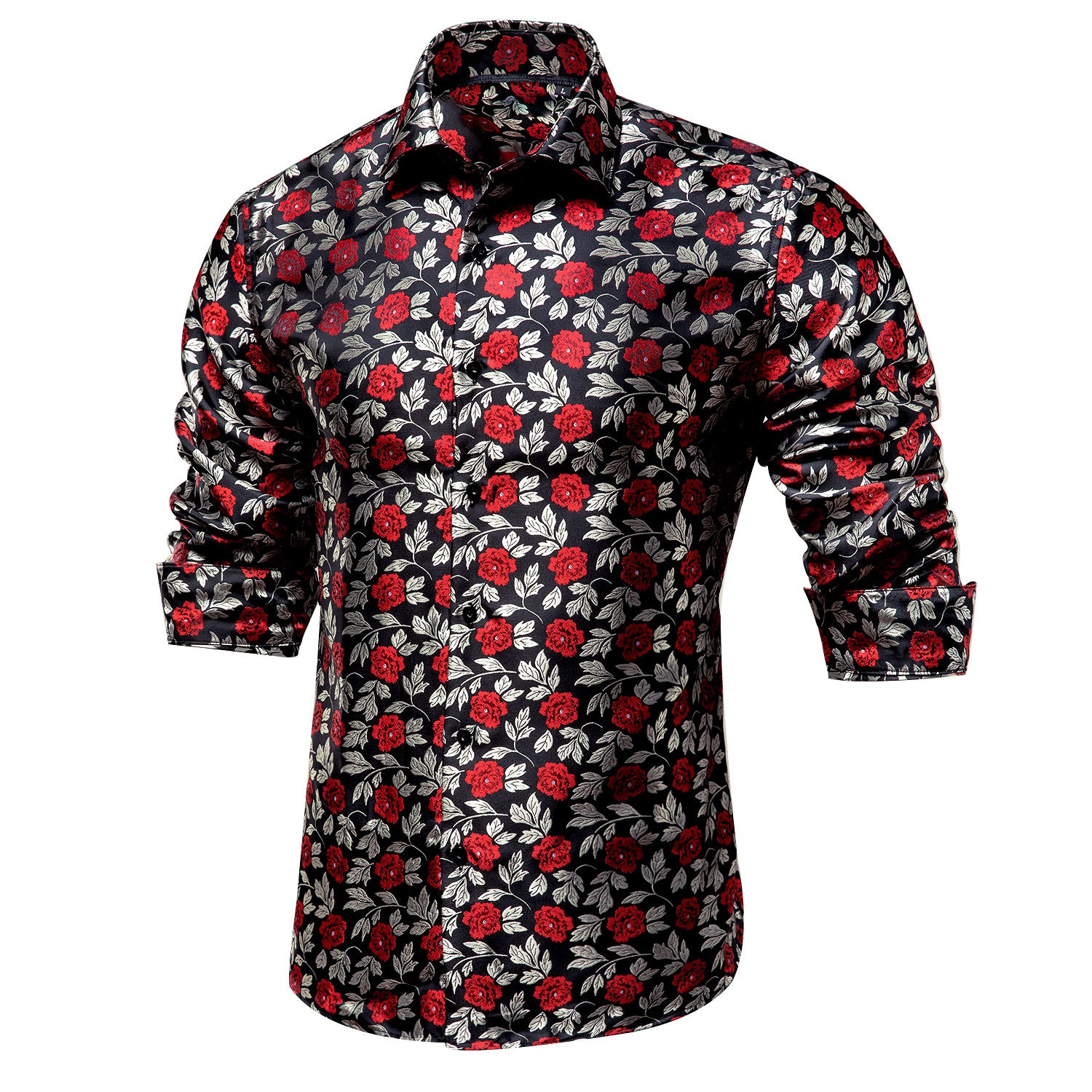 Ties2you New Black Red Floral Silk Men's Long Sleeve Shirt