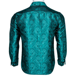 New Dark Cyan Floral Silk Men's Long Sleeve Shirt