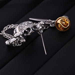 Ties2you New Silver Rhinestone Metal Chain Skull Lapel Pin