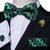 Black Green Christmas Tree Novelty Men's Pre-tied Bow Tie Hanky Cufflinks Set with Lapel Pin