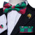 Green Blue Christmas Style Plaid Men's Pre-tied Bow Tie Hanky Cufflinks Set with Lapel Pin