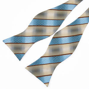 Classic Blue Beige Striped Self-tied Bow Tie Pocket Square Cufflinks Set