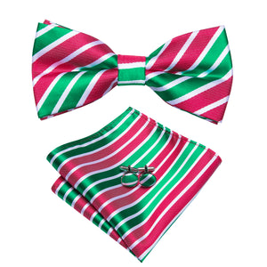 Light Green Red Striped Pre-tied Bow Tie Hanky Cufflinks Set with Lapel Pin
