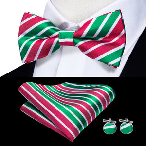 Light Green Red Striped Pre-tied Bow Tie Hanky Cufflinks Set