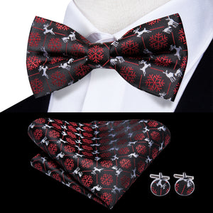 Black Red Snowflake Elk Christmas Style Novelty Pre-tied Bow Tie Hanky Cufflinks Set with Lapel Pin