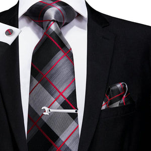 Black Grey Red Plaid Men's Tie Set Tie Pocket Square Cufflinks Set with Tie Clip