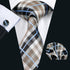 Brown Black White Plaid Silk Men's Tie Pocket Square Cufflinks Set