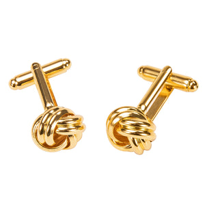 Ties2you New Golden Circle Buckle Novelty Golden Metal Tie Clip Cufflinks Set
