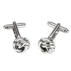 Ties2you New Silver Circle Buckle Novelty Silver Metal Tie Clip Cufflinks Set