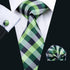 Green Plaid Silk Men's Tie Pocket Square Cufflinks Set