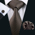 Dark Brown Golden Striped Silk Men's Tie Pocket Square Cufflinks Set