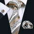 Fashion Champagne White Striped Silk Men's Tie Pocket Square Cufflinks Set