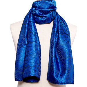 New Arrival Royal Blue Paisley Men's Silk Scarf