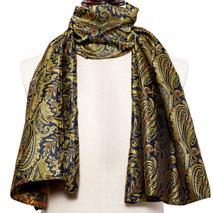 New Arrival Yellow Blue Floral Men's Silk Scarf