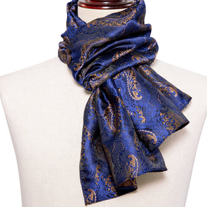 New Arrival Shinning Blue Floral Men's Silk Scarf