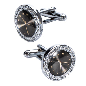 Ties2you New Black Circle Dial Novelty Silver Metal Tie Clip Cufflinks Set