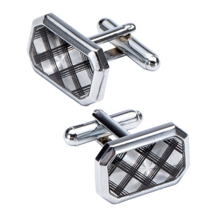 Ties2you New Black Plaid Silver Metal Tie Clip Cufflinks Set