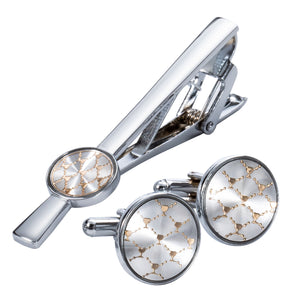 Ties2you New Shining Grid Silver Metal Tie Clip Cufflinks Set