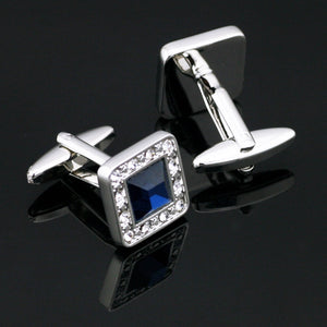 Ties2you Luxury Silver Square Metal Blue Gem with Diamond Cufflinks