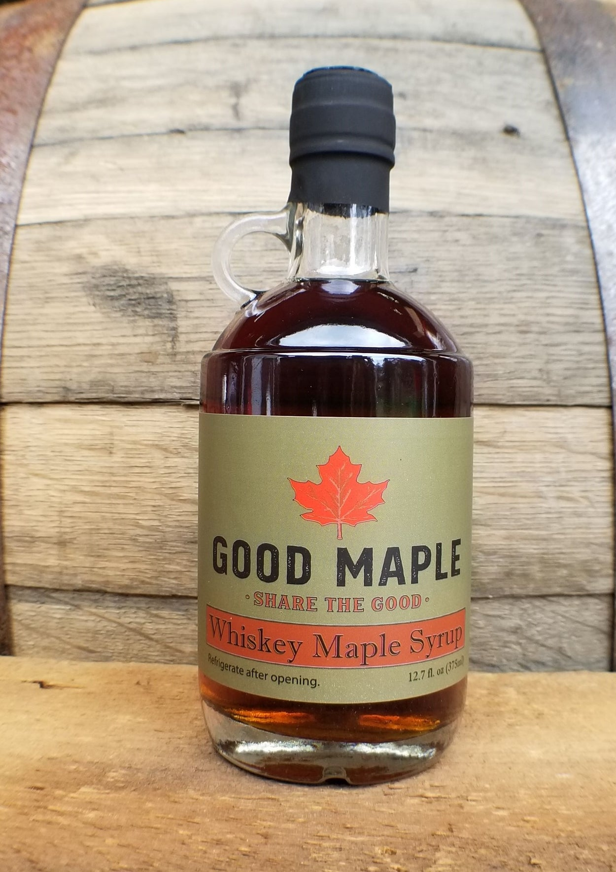 Whiskey Barrel-Aged Maple Syrup Jug 375ml
