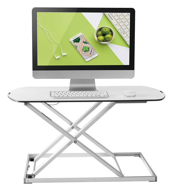 Husky Mount Height Adjustable Office Sit/Standing Desk Ergonomic Riser Dual LCD LED Monitor