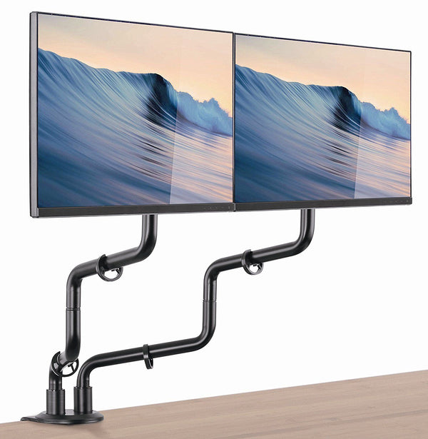 Double Arm Full Motion VESA Monitor Desk Mount - Heavy Duty Arms Fit Screens up to 32