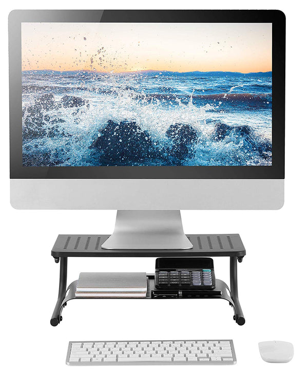 Two Tier Double Decker Steel Monitor Stand Holds up to 50 lbs, Laptop, Keyboard, or Monitor