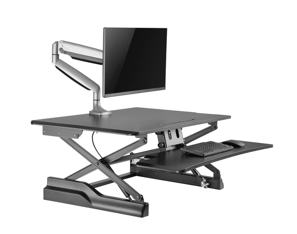 "Husky Mounts Sturdy Standing Desk Converter Sit Stand Height Adjustable Computer Desk 36""x 24"" Dual Monitor Stand up Desk Elevating Heavy-Duty Monitor Riser Desktop."