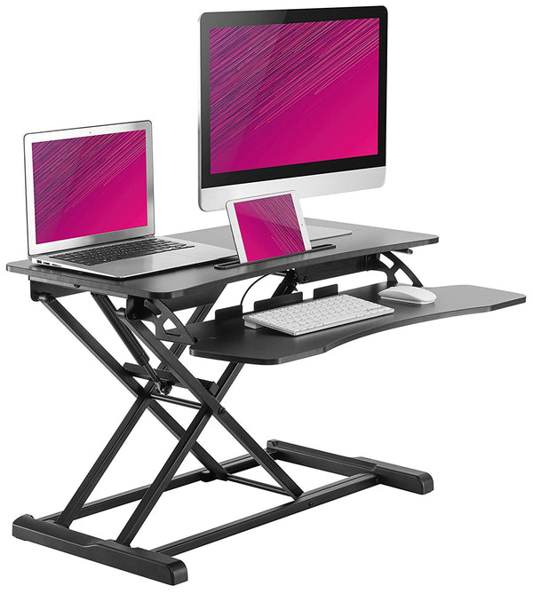 "Husky Mount Adjustable Sit to Stand Desk 34"" x 24"" Desk  Space No Installation Necessary"