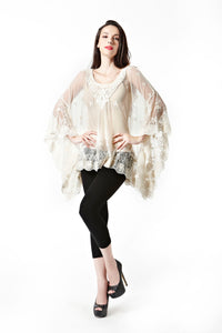 OFV Poncho with Lacey Embroidered Neck One Size in 2 Colours