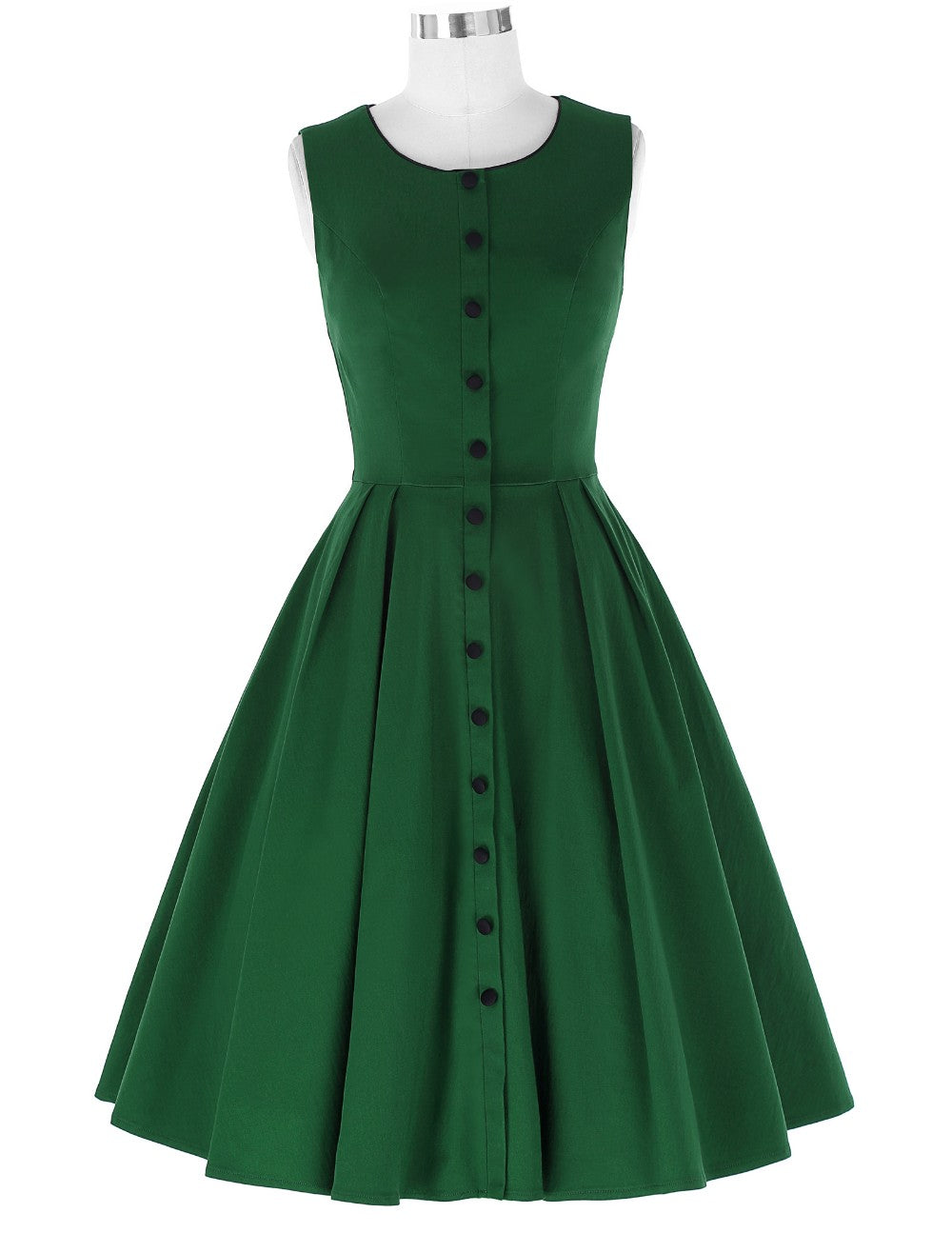 Miss Lulo Pin Up Sleeveless Dress in Green