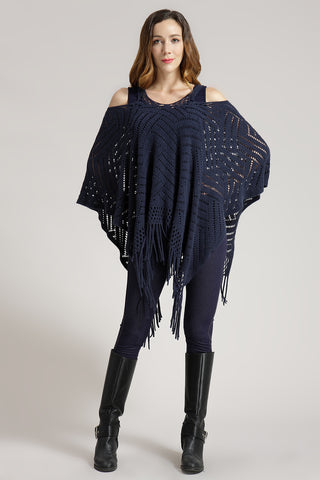 OFV Poncho Knitted With Cold Shoulder
