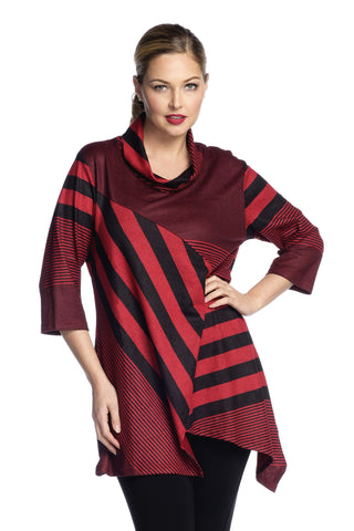 Red Coral Cowl Neck Sweater Tunic in Red