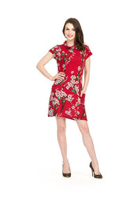 Papillon SD-9416 Short Sleeve Dress with Pockets in Cherry Blossom Print