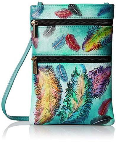 Anuschka Double Zip Travel Crossbody in Floating Feathers