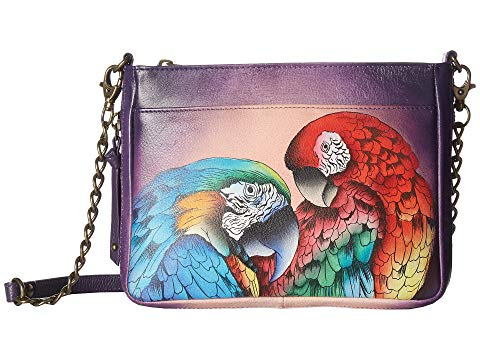 Anuschka Compact Crossbody With Front Pocket in Rainforest Royalty
