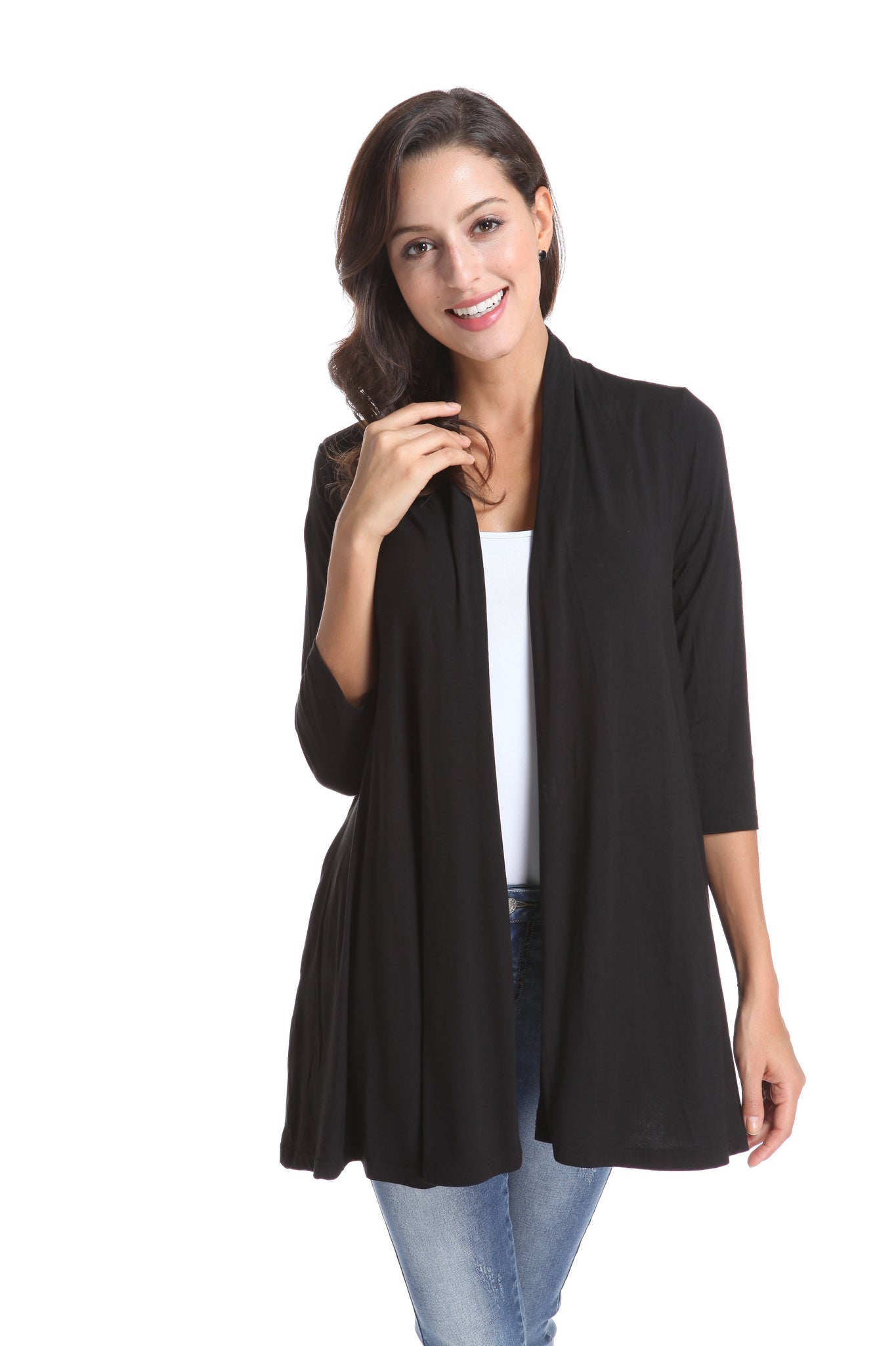 OFV 999-1B Bamboo Split Back Cardigan in 7 Colours