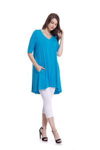 OFV B-0081 Bamboo Tunic With Pockets in Turquoise