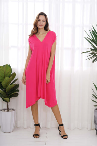 OFV Bamboo V Neck Dress with Pockets One Size in Fuchsia