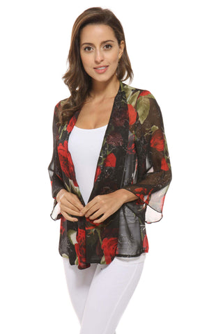OFV Floral Chiffon Cardigan in Black