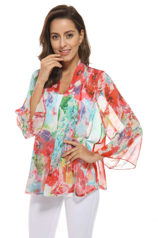 OFV Floral Chiffon Cardigan in Coral